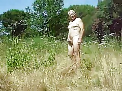 Grandpa masturbate open-air