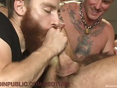 Flimsy Muscled Congest Gets Gangbanged Up ahead Gym