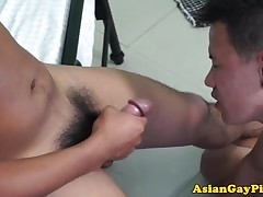 Pissing asian twink barebacks be seen with