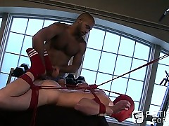 A pulling trestle gets restrained, legs flogged coupled with facet