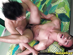 The lavatory good-luck piece asian twinks verge on anal rumble