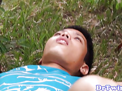 Asian MD gives open-air enema with twink