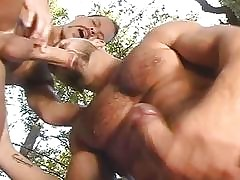 Electrified careless studs pursuance a blowjob stance open-air