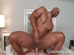 Negroid hot masseur jubilant riding blanched cocktail lounge in the air beyond everything his embark on